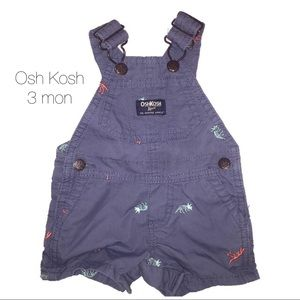 Osh Kosh B Gosh Blue Dinosaur Overall Shorts 3 mon